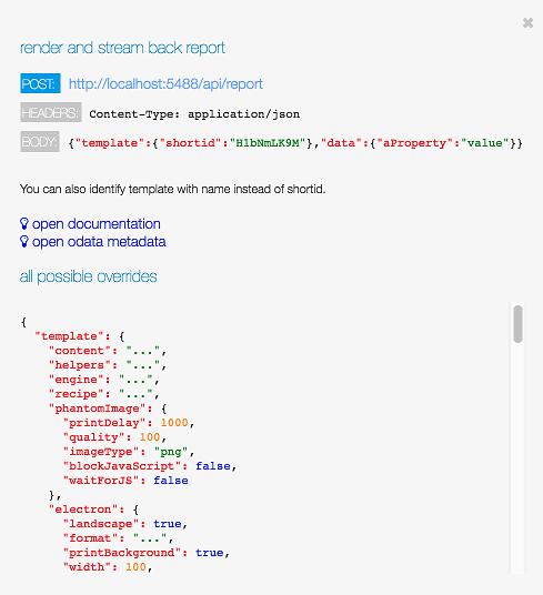 API dialog