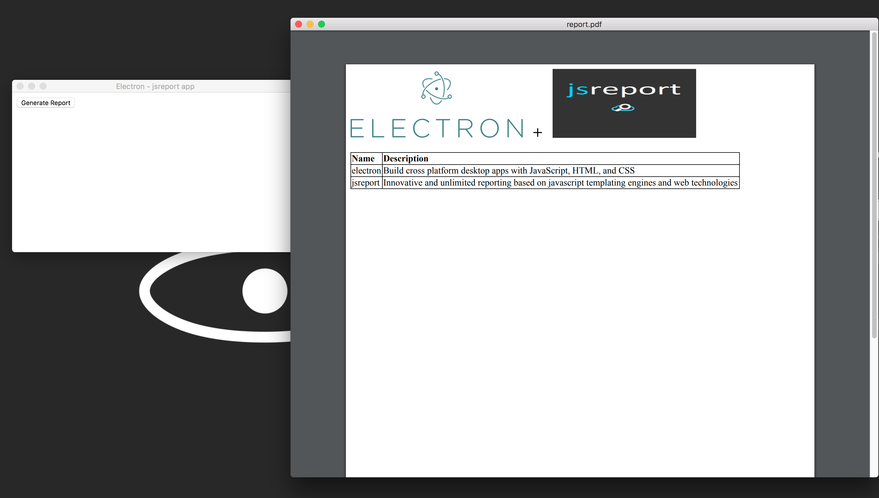 Pdf reports in Electron app
